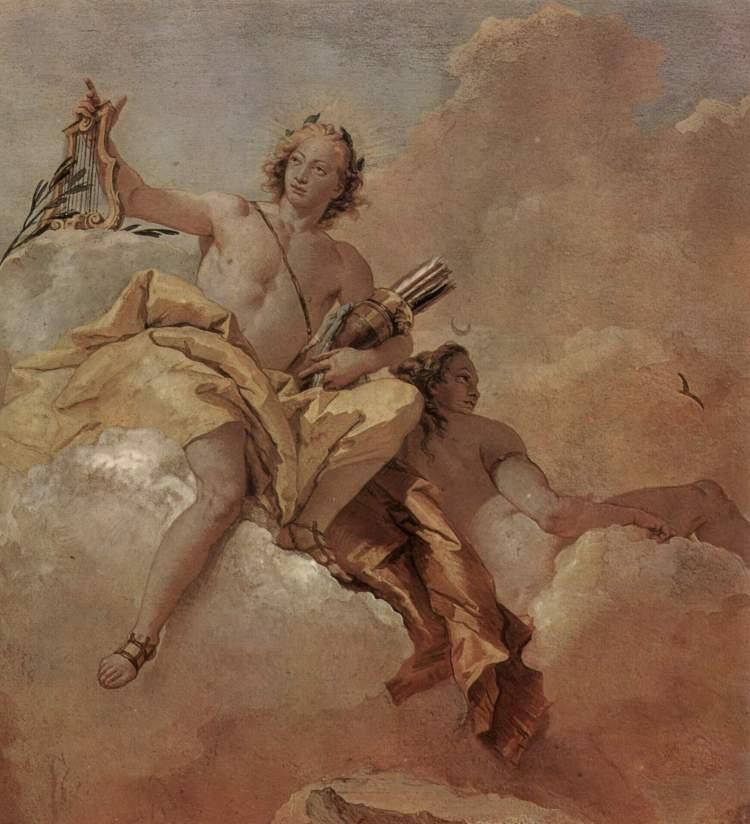 Apolo y Ártemis de Giovanni Domenico Tiepolo (1757, Villa Vallmarana, Vicenca)